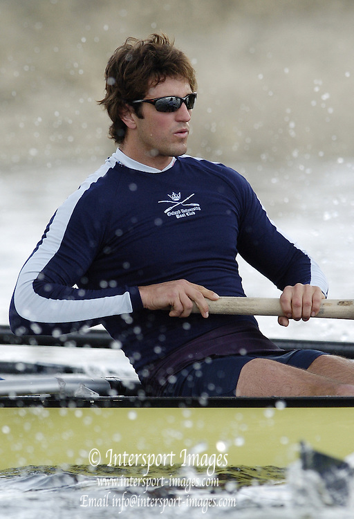 2005 Varsity Boat Race. Tideway Week, Putney, London, ENGLAND. Wednesday am training session. Oxford University Boat club morning training session;.Chris Liwski..Photo  Peter Spurrier. .email images@intersport-images...[Mandatory Credit Peter Spurrier/ Intersport Images]