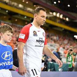 BRISBANE, AUSTRALIA - APRIL 21: Brendon Santalab of the Wanderers walks out during the Hyundai A-League Elimination Final match between the Brisbane Roar and Western Sydney Wanderers at Suncorp Stadium on April 21, 2017 in Brisbane, Australia. (Photo by Patrick Kearney/Brisbane Roar)