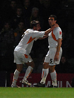 Photo: Ashley Pickering.<br /> Norwich City v Blackpool. The FA Cup. 13/02/2007.<br /> Michael Jackson of Blackpool (R) celebrates hisopening goal (0-1)