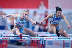 (L) MARIN ATOMIC (SLOVENIA) & (R) GIULIA  PENNELLA (ITALY) COMPETE IN WOMEN'S 60 METERS HURLDES DURING EUROPEAN ATHLETICS INDOOR CHAMPIONSHIPS PARIS 2011 AT BERCY HALL...PARIS , FRANCE , MARCH 04, 2011..( PHOTO BY ADAM NURKIEWICZ / MEDIASPORT )..PICTURE ALSO AVAIBLE IN RAW OR TIFF FORMAT ON SPECIAL REQUEST.