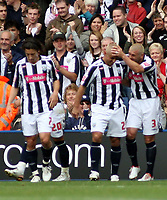 Photo: Mark Stephenson.<br /> West Bromwich Albion v Queens Park Rangers. Coca Cola Championship. 30/09/2007.West Brom's Kevin Phillips celebrates his goal with team mates Paul Robinson (R) and Robert Koren (L)