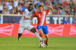September 1, 2017 - Harrison, NJ, USA - Harrison, N.J. - Friday September 01, 2017:   Jozy Altidore, Bryan Oviedo during a 2017 FIFA World Cup Qualifying (WCQ) round match between the men's national teams of the United States (USA) and Costa Rica (CRC) at Red Bull Arena. (Credit Image: © John Todd/ISIPhotos via ZUMA Wire)