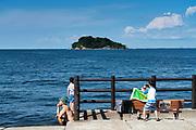 family at Umikaze park, Yokosuka with Tokyo Bay and Sarushima Island