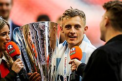 George Thomas of Coventry City talks to Nick Kicks - Photo mandatory by-line: Jason Brown/JMP -  02/04//2017 - SPORT - Football - London - Wembley Stadium - Coventry City v Oxford United - Checkatrade Trophy Final