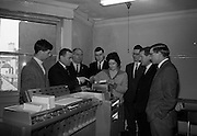 6/3/1965<br /> 3/6/1965<br /> 6 March 1965<br /> <br /> Photos Shows Mr. J.J Jones Managing Directer describing data processing equipment to Ian Philips, Brendan O'Connor, Anthony Neville, Hugh O'Donnell, Patrick Manning and Robert Keeman, the Operator is Miss Brenda Taylor