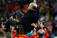 Vincente Del Bosque Manager Celebrates Victory<br /> Spain World Cup Winners 2010<br /> Holland V Spain (0-1) 11/07/10 The World Cup Final at Soccer City<br /> FIFA World Cup 2010<br /> Photo Robin Parker Fotosports International
