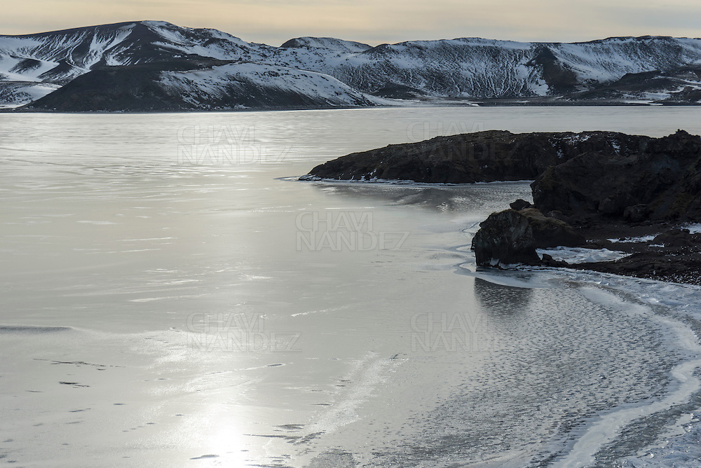 Kleifarvam lake frozen by winter. Iceland southern. Iceland
