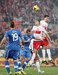 15.11.2013, National Stadium, Warschau, POL, Fussball Testspiel, Polen vs Slovakei, im Bild JURAJ KUCKA SLOVAKIA ARTUR JEDRZEJCZYK POLSKA MARCIN KAMINSKI POLSKA // JURAJ KUCKA SLOVAKIA ARTUR JEDRZEJCZYK POLSKA MARCIN KAMINSKI POLSKA during the international friendly match between Poland and Slovakia at the National Stadium in Warschau, Poland on 2013/11/15. EXPA Pictures © 2013, PhotoCredit: EXPA/ Newspix/ Michal Nowak<br /> <br /> *****ATTENTION - for AUT, SLO, CRO, SRB, BIH, MAZ, TUR, SUI, SWE only*****