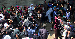 May 6, 2017 - Kulgam, Jammu & Kashmir, India - Thousands attend the funeral of a local rebel Fayaz Ahamed Ashwar Alais Setha in Kaimuh. Setha, one among the assailants that was killed in a gun battle Saturday night after rebels attacked a police squad in the Indian portion of Kashmir. Three civilians and one officer were also killed in the gun battle. (Credit Image: © Muneeb Ul Islam/Pacific Press via ZUMA Wire)