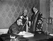 Franciscan Minister General Conferring of Honorary Degrees at Iveagh House.Rev Francis Jennings OFM receives PHD in Literature.11/04/1957
