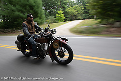 Shane Masters riding his 1925 Indian Chief in the Motorcycle Cannonball coast to coast vintage run. Stage-1 (145-miles) from Portland, Maine to Keene, NH. Saturday September 8, 2018. Photography ©2018 Michael Lichter.