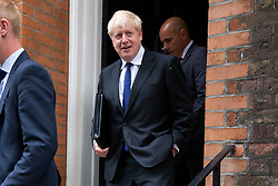 © Licensed to London News Pictures. 17/07/2019. London, UK. Conservative Party leadership contender Boris Johnson leaves an address in Westminster. Later today he will take part in a hustings in London.  Photo credit: George Cracknell Wright/LNP