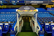 The tunnel with the Europa League banner ahead of the Europa League round of 32 leg 2 of 2 match between Chelsea and Malmo FF at Stamford Bridge, London, England on 21 February 2019.