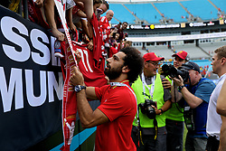 CHARLOTTE, USA - Sunday, July 22, 2018: Liverpool's Mohamed Salah signs autographs for supporters after a preseason International Champions Cup match between Borussia Dortmund and Liverpool FC at the  Bank of America Stadium. (Pic by David Rawcliffe/Propaganda)