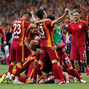 Galatasaray's players celebrate victory during their Turkish Super League derby match Galatasaray between Besiktas at the AliSamiYen Spor Kompleksi TT Arena at Seyrantepe in Istanbul Turkey on Sunday, 24 May 2015. Photo by Aykut AKICI/TURKPIX