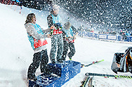James Woods, Oystein Braaten and Nick Goepper on the Men's Ski Slopestyle Finals podium during 2017 X Games Norway at Hafjell Alpinsenter in Øyer, Norway. ©Brett Wilhelm/ESPN