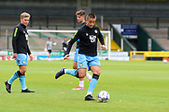 Luke Hallett (29) of Forest Green Rovers warming up ahead of the Pre-Season Friendly match between Yeovil Town and Forest Green Rovers at Huish Park, Yeovil, England on 31 July 2021.