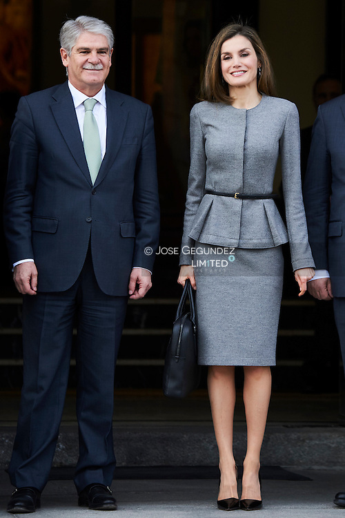 Queen Letizia of Spain attends a Working meeting at the headquarters of the Spanish Agency for International Cooperation for Development (AECID) on March 7, 2017 in Madrid