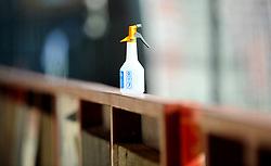 Bottles of disinfectant are placed through the stadium to clean the match ball- Mandatory by-line: Nizaam Jones/JMP - 12/09/2020 - FOOTBALL - Jonny-Rocks Stadium - Cheltenham, England - Cheltenham Town v Morecambe - Sky Bet League Two