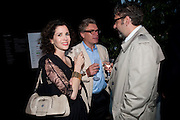MOLLIE DENT-BROCKLEHURST; DUNCAN WARD; KEITH TYSON, The Summer party 2011 co-hosted by Burberry. The Summer pavilion designed by Peter Zumthor. Serpentine Gallery. Kensington Gardens. London. 28 June 2011. <br /> <br />  , -DO NOT ARCHIVE-© Copyright Photograph by Dafydd Jones. 248 Clapham Rd. London SW9 0PZ. Tel 0207 820 0771. www.dafjones.com.