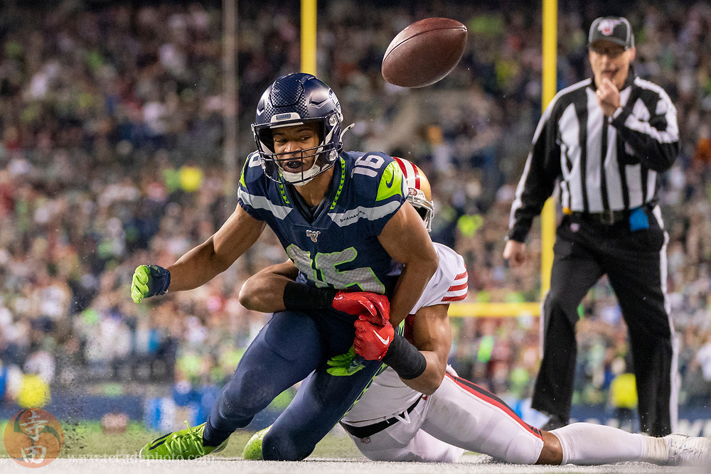 December 29, 2019; Seattle, Washington, USA; Seattle Seahawks wide receiver Tyler Lockett (16) during the fourth quarter against the San Francisco 49ers at CenturyLink Field.