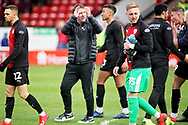 Barnsley manager Daniel Stendel celebrates after the final whistle after the EFL Sky Bet League 1 match between Walsall and Barnsley at the Banks's Stadium, Walsall, England on 23 March 2019.