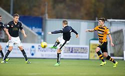 Falkirk's John Baird scoring their third goal. <br /> half time : Falkirk 3 v 0 Alloa Athletic, Scottish Championship game played at The Falkirk Stadium.