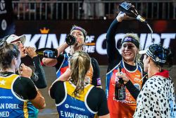 "Emi van Driel, Mexime van Driel, Eduarda Santos Lisboa ""Duda"" BRA, Agatha Bednarczuk BRA, Madelein Meppelink, Sanne Keizer during the ceremony on the last day of the beach volleyball event King of the Court at Jaarbeursplein on September 12, 2020 in Utrecht."