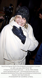Rock Roll figure ANITA PALLENBURG at a party in London on 30th January 2003.PGW 181