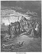 Death of Ahab 1 Kings 22:35 From the book 'Bible Gallery' Illustrated by Gustave Dore with Memoir of Dore and Descriptive Letter-press by Talbot W. Chambers D.D. Published by Cassell & Company Limited in London and simultaneously by Mame in Tours, France in 1866