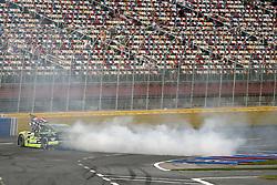 May 26, 2018 - Concord, North Carolina, United States of America - Brad Keselowski (22) celebrates with a burnout after winning the Alsco 300 at Charlotte Motor Speedway in Concord, North Carolina. (Credit Image: © Chris Owens Asp Inc/ASP via ZUMA Wire)