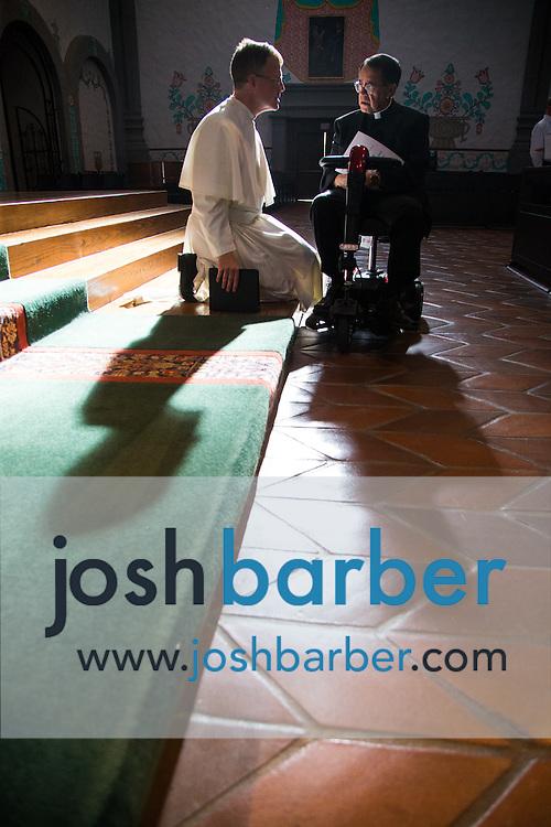Norbertine Fathers of Saint Michael's Abbey during a concert at Mission Basilica San Juan Capistrano on Saturday, Oct. 24, 2015 in San Juan Capistrano, California.