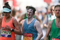 Amateur and professional athletes alike brave the hot April weather in the Virgin London Marathon London, April 22 2018.
