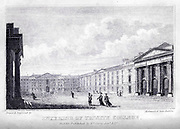 TRINITY COLLEGE, Interior of the first Square From the guide book ' The new picture of Dublin : or Stranger's guide through the Irish metropolis, containing a description of every public and private building worthy of notice ' by Hardy, Philip Dixon, 1794-1875. Published in Dublin in 1831 by W. Curry.