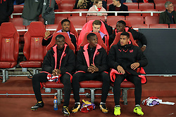 2 November 2017 -  UEFA Europa League (Group H) - Arsenal v Red Star Belgrade - (Back Row L-R) Chuba Akpom, Ben Sheaf, Josh Dasilva (Front Row L-R) Jordi Osei-Tutu, Edward Nketiah and Marcus McGuane of Arsenal - Photo: Marc Atkins/Offside