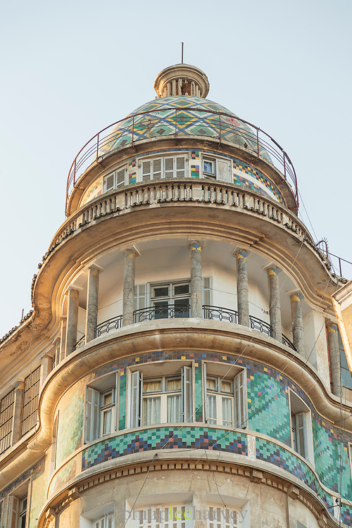 Building with painted tiles in Casablanca, Morocco