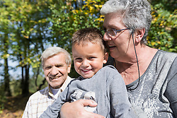 Grandparents young small boy happy sitting
