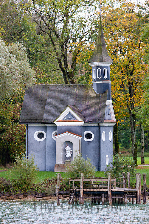 Herrenchiemsee Chapel on Herren Insel island in Chiemsee Lake in Baden-Wurttenberg, Bavaria, Germany