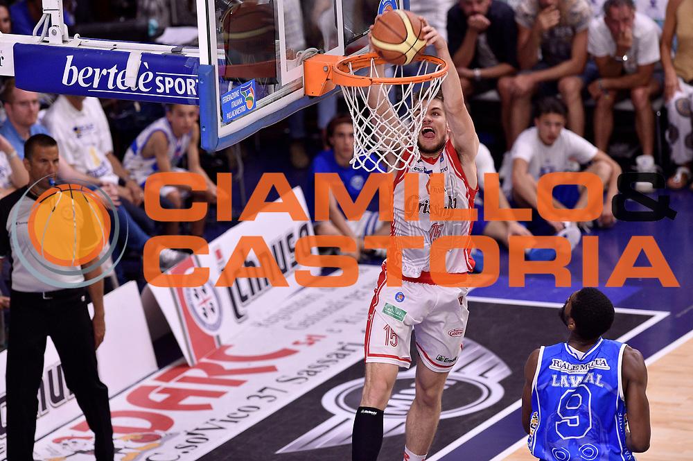 DESCRIZIONE : Sassari Lega A 2014-2015 Banco di Sardegna Sassari Grissinbon Reggio Emilia Finale Playoff Gara 6 <br /> GIOCATORE : Ojars Silins<br /> CATEGORIA : schiacciata sequenza<br /> SQUADRA : Grissin Bon Reggio Emilia<br /> EVENTO : Campionato Lega A 2014-2015<br /> GARA : Banco di Sardegna Sassari Grissinbon Reggio Emilia Finale Playoff Gara 6 <br /> DATA : 24/06/2015<br /> SPORT : Pallacanestro<br /> AUTORE : Agenzia Ciamillo-Castoria/GiulioCiamillo<br /> GALLERIA : Lega Basket A 2014-2015<br /> FOTONOTIZIA : Sassari Lega A 2014-2015 Banco di Sardegna Sassari Grissinbon Reggio Emilia Finale Playoff Gara 6<br /> PREDEFINITA :