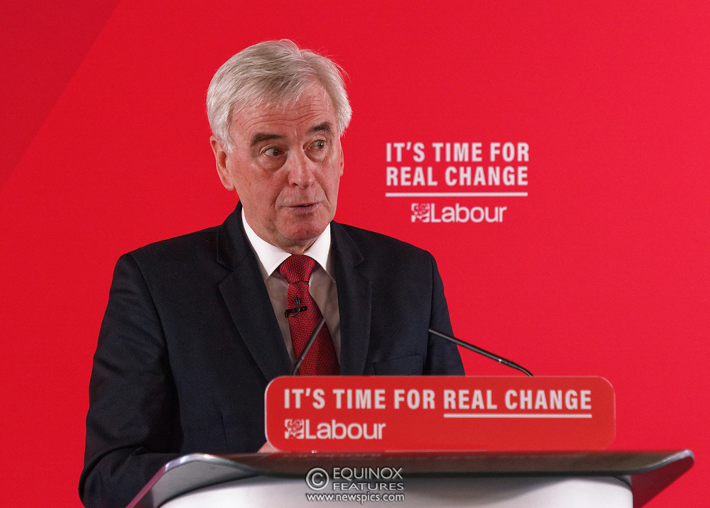 London, United Kingdom - 9 December 2019<br /> John McDonnell gives an economics speech in the run up to the general election 2019, on behalf of the Labour Party at Coin Street Community Builders, London, England, UK.<br /> (photo by: EQUINOXFEATURES.COM)<br /> Picture Data:<br /> Photographer: Equinox Features<br /> Copyright: ©2019 Equinox Licensing Ltd. +443700 780000<br /> Contact: Equinox Features<br /> Date Taken: 20191209<br /> Time Taken: 11482200<br /> www.newspics.com