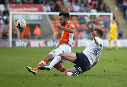 Jack Payne of Blackpool (L) and Lawson D'Ath of Luton Town in action - Mandatory by-line: Jack Phillips/JMP - 14/05/2017 - FOOTBALL - Bloomfield Road - Blackpool, England - Blackpool v Luton Town - Football League 2 Play-off Semi Final Leg 1