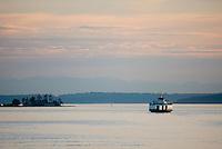 Ferry boat sailing through the San Juans Islands Washington USA