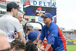 May 15, 2018 - Atlanta, GA, U.S. - ATLANTA, GA Ð MAY 15:  Cubs assistant hitting coach Andy Haines visits with fans prior to the start of the game between Atlanta and Chicago on May 15th, 2018 at SunTrust Park in Atlanta, GA. The Chicago Cubs beat the Atlanta Braves by a score of 3 Ð 2.  (Photo by Rich von Biberstein/Icon Sportswire) (Credit Image: © Rich Von Biberstein/Icon SMI via ZUMA Press)