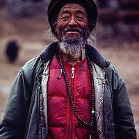 Veteran Sherpa Dawa Tenzing, who climbed on Hillary's Everest expedtion, in Namche Bazar, 1980.