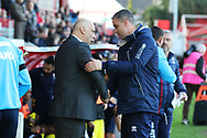 Garry Hill and Michael Duff  during the The FA Cup 1st round match between Ebbsfleet and Cheltenham Town at Stonebridge Road, Ebsfleet, United Kingdom on 10 November 2018.