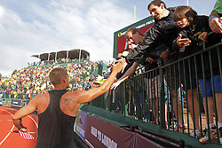 Olympic Trials Eugene 2012: Decathlon, Trey Hardee, takes victory lap after making Olympic team