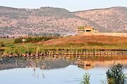 Israel, Hula Valley, Lake Agamon Bird sanctuary nature reserve The hide used bu bird watchers