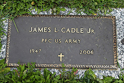 31 August 2017:   Veterans graves in Park Hill Cemetery in eastern McLean County.<br /> <br /> James L Cadle Jr Private First Class US Army 1947 2006