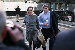Rebekah Brooks arrives with her husband, Charlie at Old Bailey for the phone-hacking trial. Old Bailey, London, United Kingdom. Tuesday, 15th April 2014. Picture by Daniel Leal-Olivas / i-Images