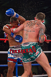 Liam Harrison fights back hard in his second match against Thai Legend Saenchai Sinbi.